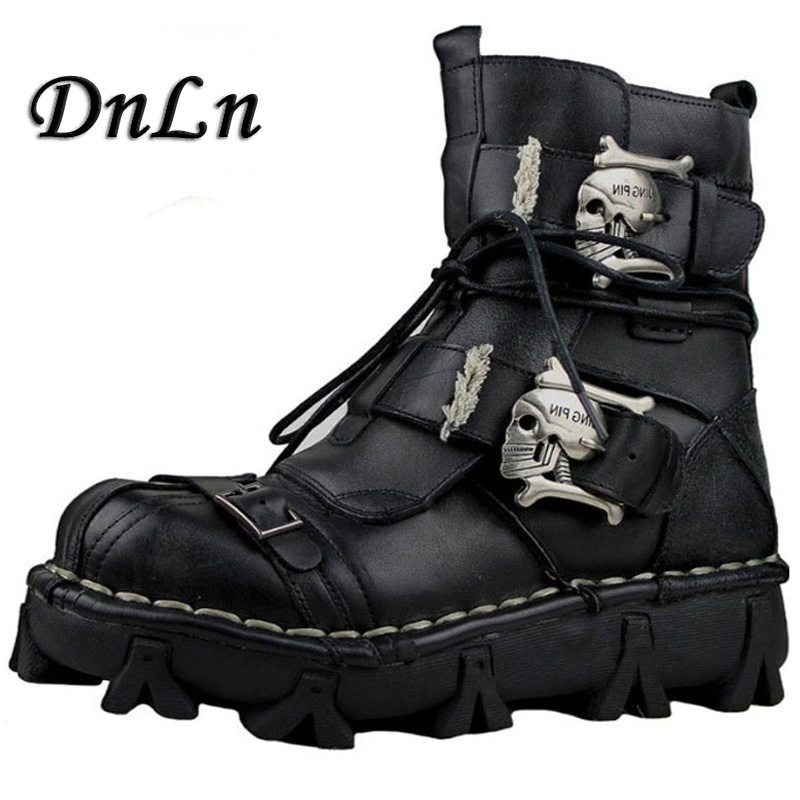 Skull Leather Men Motorcycle Boots Alfonsocarter